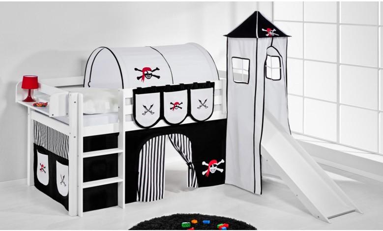 Kinderhochbett mit Rutsche Pirat Schwarz Weiß